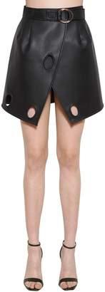 Self-Portrait Faux Leather Wrap Skirt
