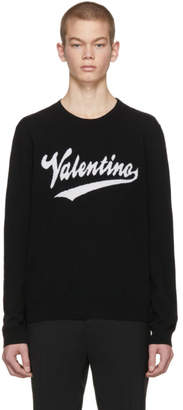 Valentino Black Varsity Logo Sweater