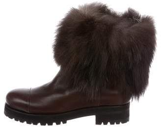 Jimmy Choo Fox Fur-Trimmed Ankle Boots