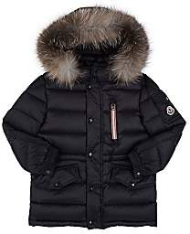 Moncler Kids' Fur-Trimmed Down-Quilted Hooded Parka-Blue