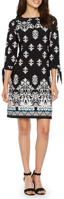 Studio 1 3/4 Sleeve Puff Print Damask Shift Dress