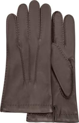 Forzieri Men's Cashmere Lined Dark Brown Italian Leather Gloves