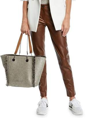 Brunello Cucinelli Leather Skinny-Leg Pants
