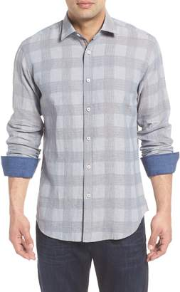 Bugatchi Shaped Fit Check Linen Blend Sport Shirt