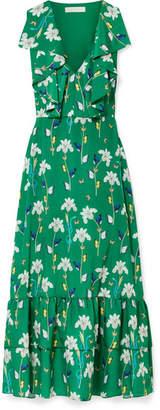 Borgo De Nor - Carlotta Ruffled Printed Crepe De Chine Maxi Dress - Dark green