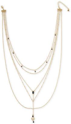 "Rachel Roy Gold-Tone Crystal Multi-Layer Lariat Necklace, 15"" + 2"" extender"