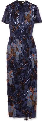 Erdem Emilie Embellished Sequined Crepe Midi Dress - Blue