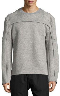 Juun J Reverse-Seam Mélange Neoprene Sweatshirt, Gray $495 thestylecure.com