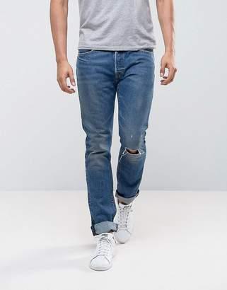 Levi's Levis 501 Skinny Fizzy Mid Blue Wash Knee Rip