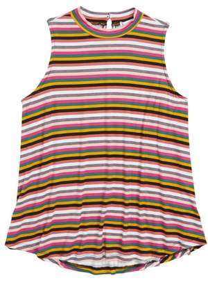 Love, Fire Stripe Sleeveless Mock Neck Tank