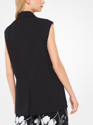 Michael Kors Wool and Cotton Gabardine Sleeveless Jacket