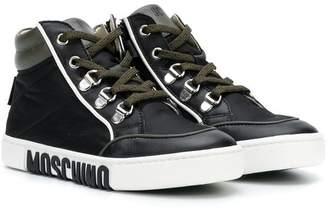 Moschino Kids logo high top trainers