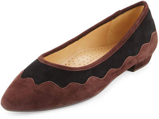 Neiman Marcus Gowyn Suede Scalloped Flat,