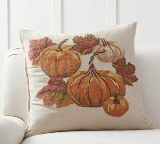 Pottery Barn Autumnal Pumpkin Embroidered Pillow Cover