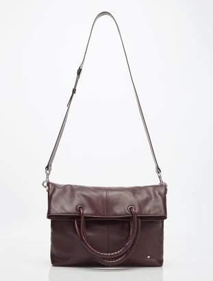 Halston Ali Soft Box Calf Leather Lg Foldover Tote