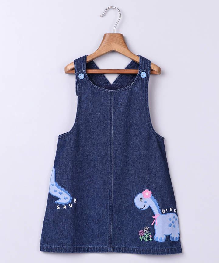 Blue Dinosaur 'Dino' Embroidered Denim Jumper - Newborn, Infant, Toddler & Girls