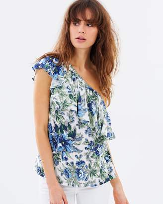 Warehouse Lilly Print One Shoulder Top