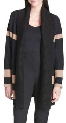 Calvin Klein Striped Long-Sleeve Wool Blend Cardigan