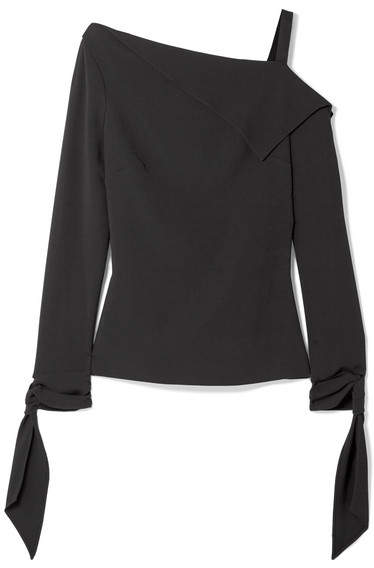 Roland Mouret - Russell Draped One-shoulder Crepe Top - Black