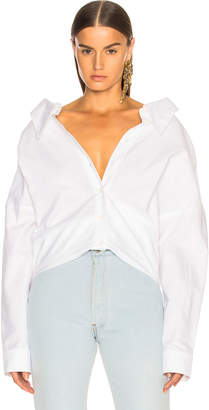 Tibi Watts Oxford Shirting Easy Shirt w/ Zipper Detail