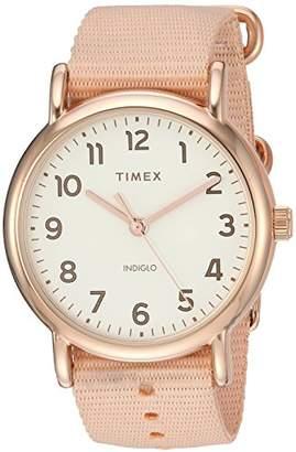 Timex Women's TW2R59600 Weekender 38 -Tone Nylon Slip-Thru Strap Watch