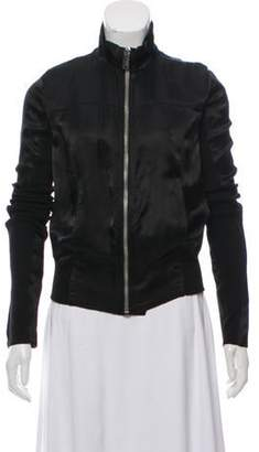 Rick Owens Knit-Trimmed Satin Jacket Black Knit-Trimmed Satin Jacket