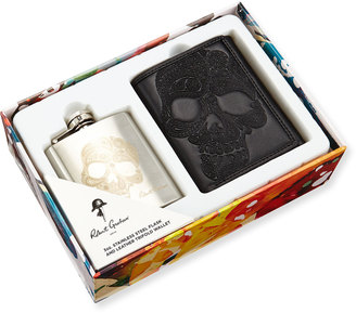 Robert Graham Sugar Skull Flask & Leather Wallet Boxed Set $79 thestylecure.com