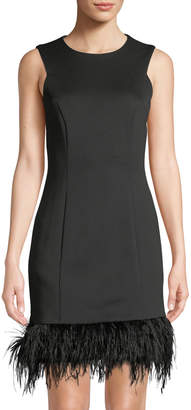 Donna Ricco Feather-Hem Sleeveless Sheath Dress