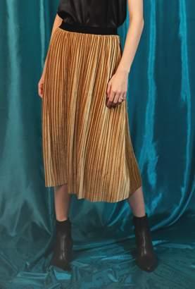 Azalea Velvet Pleated Midi Skirt