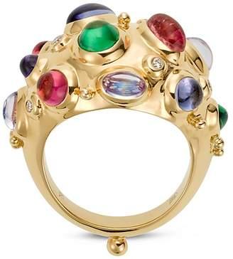 Temple St. Clair 18K Yellow Gold Cosmos Bombe Ring with Royal Blue Moonstone, Tsavorite, Tanzanite, Pink Tourmaline and Diamonds
