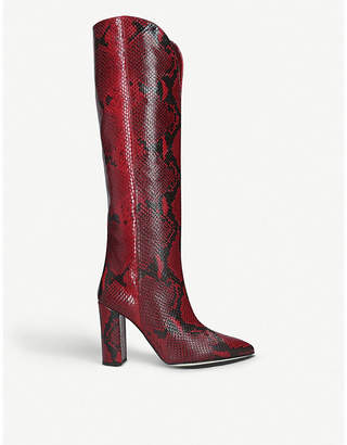 Paris Texas Snake-embossed knee-high heeled leather boots
