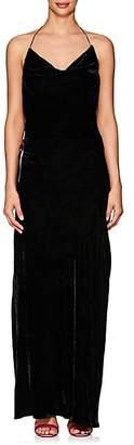 Juan Carlos Obando Women's Velvet Cowlneck Open-Back Gown - Black