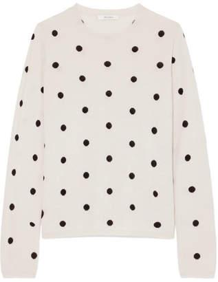 Max Mara Polka-dot Silk And Cashmere-blend Sweater - Cream