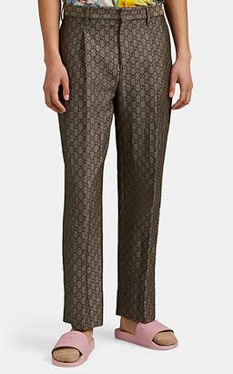 Gucci Men's GG-Pattern Cotton-Wool Straight Trousers - Neutral