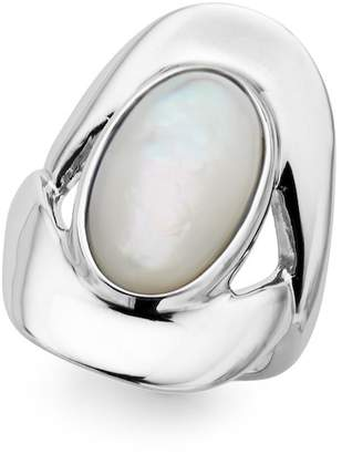 Nambe Sterling Silver Bezel Set Mother of Pearl Oval Ring - Size 6