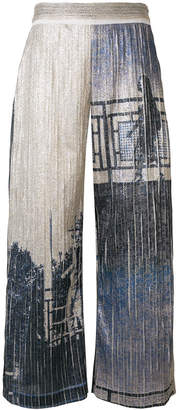 Aviu metallic print culottes
