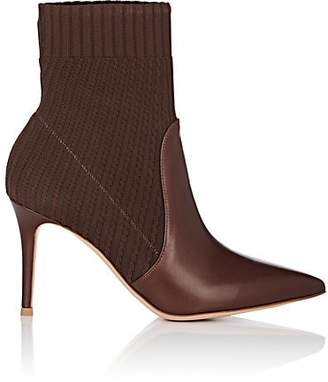 Gianvito Rossi Women's Katie Leather & Knit Ankle Boots - Brown