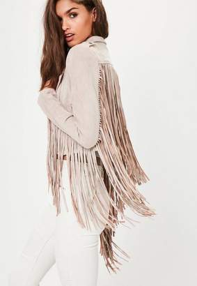 Missguided Nude Faux Suede Fringe Biker