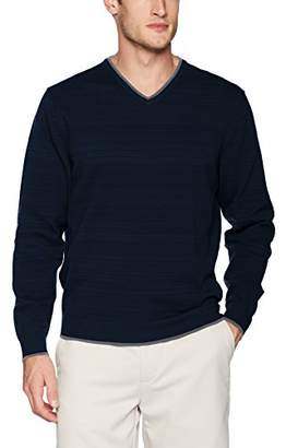 Cutter & Buck Men's Tonal Space Dye Stripe Impact V-Neck Performance Sweater