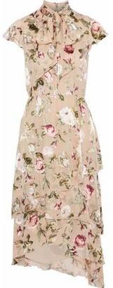 Alice + Olivia Lavenia Pussy-bow Floral-print Fil Coupe Chiffon Dress