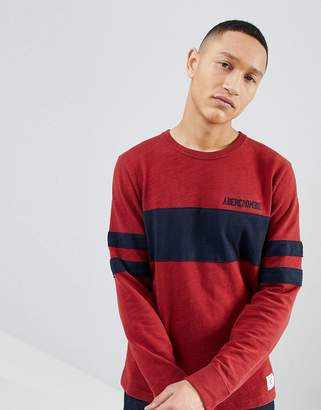 Abercrombie & Fitch Varsity Chest Stripe Lightweight Sweatshirt in Red