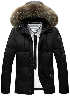 JIAX Mens Winter Coat Thicken Warm Hooded White Waterproof Jacket Raccoon Fur Collar