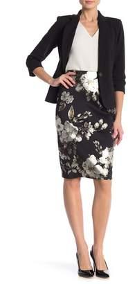 Carole Wren Foil Scuba Pencil Skirt