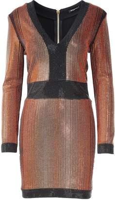 Balmain Beaded Stretch-knit Mini Dress