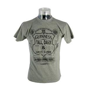 Guinness T-Shirt With Tall, Dark & Have Some Shield Print, Grey Colour
