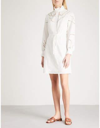 Claudie Pierlot Embroidered belted cotton-poplin mini dress