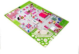 Little Helper 3D Childrens Play Rug in Playhouse Design, Green/Multicoloured (134 x 180cm)