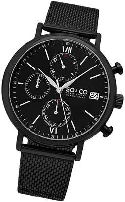 Co SO & Ny Men'S Monticello Chronograph Black Stainless Steel Mesh Bracelet Black Dial Dress Quartz Watch J160P93