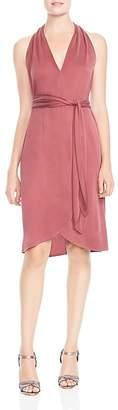 Halston Knit Faux-Wrap Dress