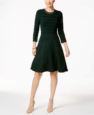 Jessica Howard Crochet-Trim Fit & Flare Sweater Dress $79 thestylecure.com
